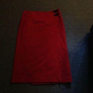Ralph Lauren Red Long a Wrap Style Skirt 14